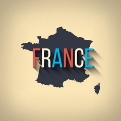 Vector france map in flat design. French border and country name