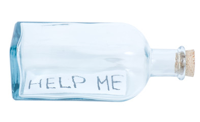 Glass bottle with letter HELP ME isolated on white background