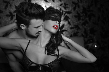 Passionate couple foreplay at night selective coloring - fototapety na wymiar