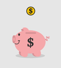 piggy bank pink dollar with piece on grey background