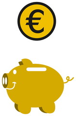 piggy bank euro into gold