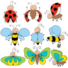 Ladybug, bee and butterfly drawing cute character