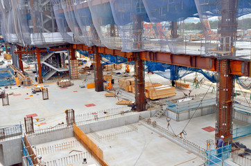 Large-scale construction site, Steel frame, Toyosu, Japan