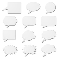 White speech bubble cards