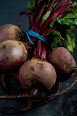 Bunch of whole beetroots farm fresh