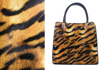 Handbag in a tiger pattern on a white background