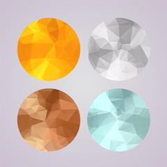 Set of medals gold, silver, bronze, platinum in polygonal style