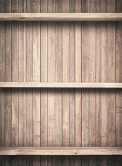 Old brown wooden planks texture with shelfs.