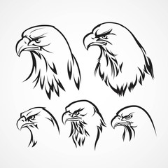 Eagle badge template. Silhouette. Vector illustration