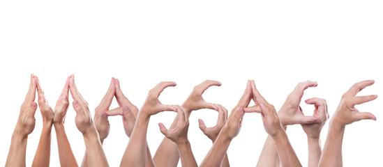 Das Wort Massage aus Händen geformt