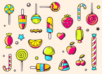 Vector festive colorful pattern with sweets on light background.
