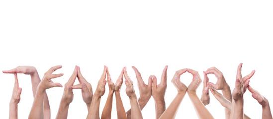Das Wort Teamwork aus Händen freigestellt