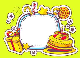 Vector illustration of cake, gift and confection with frame on g
