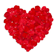 Heart made from red rose petals isolated on white background.