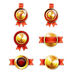 Golden badges with ribbons.