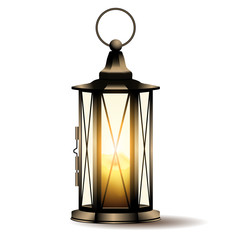 Vintage lantern with candle isolated on white background.