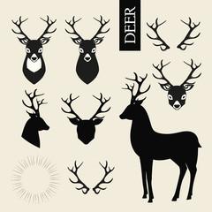 Deer heads, horns and deer silhouettes vector set