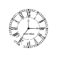 Vintage old clock dial on white background.