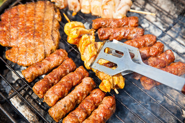 Barbecue, kebab from beef meat on the grill