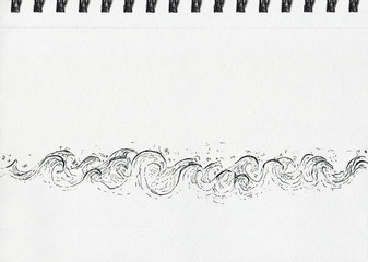 Waves, pen and ink drawing, notebook artwork