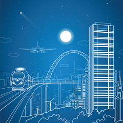 Fototapete - City and transport composition, vector lines landscape