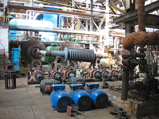 Power generator steam turbine during repair, machinery at a powe