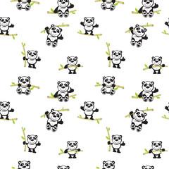 Panda with bamboo seamless pattern