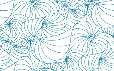 vector seamless wave background of plants drawn lines