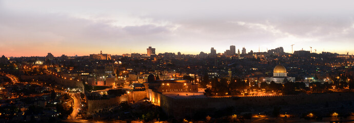 evening panoramic view of Jerusalem