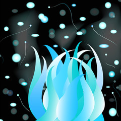 Blue flame with sparks .