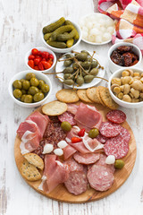 Assorted meat snacks, sausages and pickles, top view, vertical