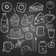 Set of food on the blackboard