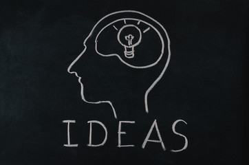 light bulb in human brain with idea concept
