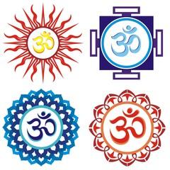 Om symbols.Vector indian spiritual sign ohm