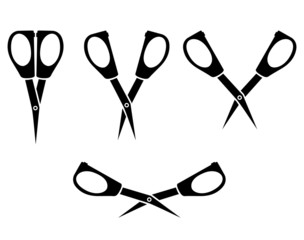 Silhouette image of opening and closing little nail scissors