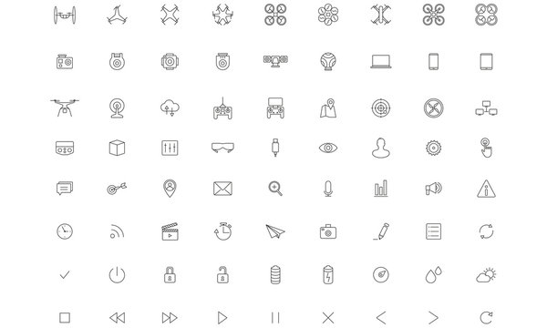 Flying Drone , Camera, Vector Thin Icon set