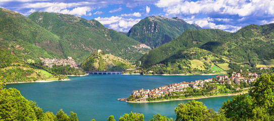 impressive views of Turano lake with village Colle di Tora,Italy