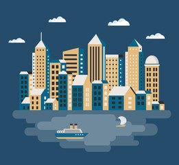 City flat  illustration