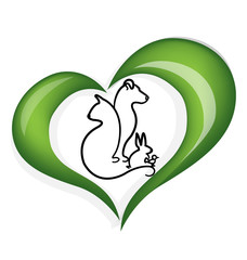 Cat dog rabbit and bird love heart logo vector