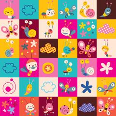 snails, butterflies, bugs, flowers kids pattern