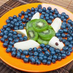 Fun food. Turtle made from kiwi and banana