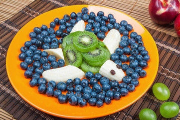 Fun food. Turtle made from kiwi and banana