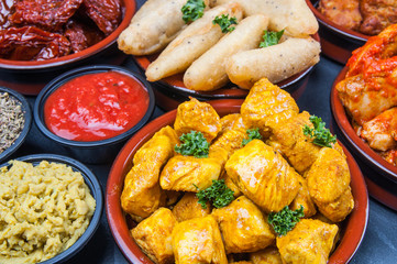 Indian snacks in bowls
