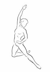 Male dancer silhouette. Vector illustration