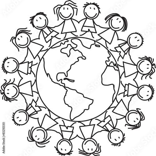"""""""kids on world  group of children on globe  illustration"""