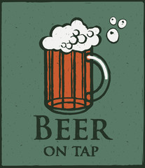 vector illustration glass of beer and the words