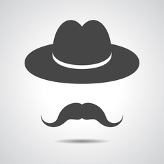 man moustache icon - black hat with mustache isolated on a grey