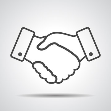 handshake thin line design icon - vector illustration