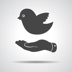 flat hand giving bird icon - vector illustration