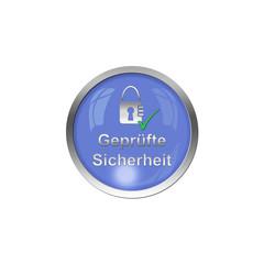 Button Blau - Geprüfte Sicherheit